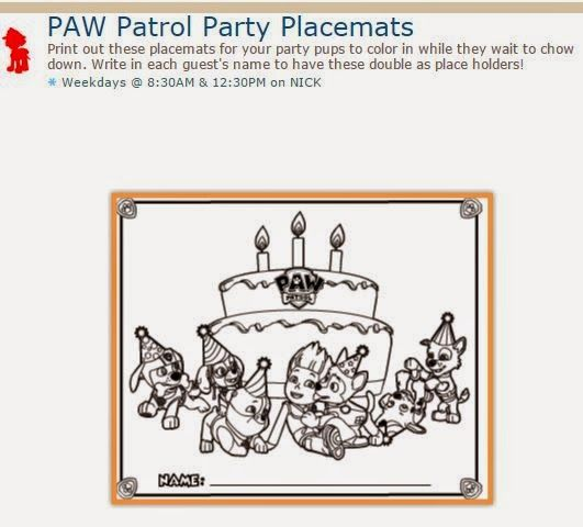 Paw Patrol Free Printable Coloring Party Placemats