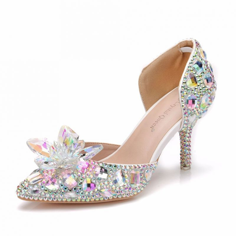 Najpiekniejsze Ekskluzywne Srebrny Buty Slubne 2018 Krysztal Rhinestone 7 Cm Szpilki Szpiczaste Slub Wysokie Obcasy Silver Wedding Shoes Bridal Sandals Heels Wedding Shoes Sandals