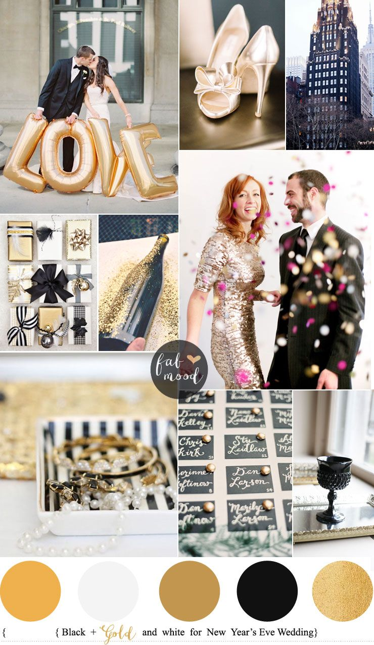 new years eve wedding colours black gold and white fabmoodcom