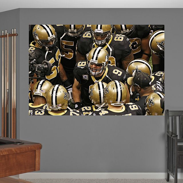 Saints Huddle In Your Face Mural New Orleans Saints Nfl New Orleans Saints Classy Man Cave Man Cave Home Bar