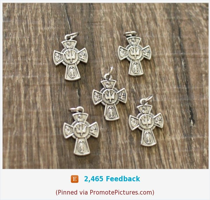 Holy Spirit Four way Cross Double Sided Confirmation Medal ITALY Crucifix set of 5 SILVER Tone Cross for Rosary or Pendant #rosaryjewelry