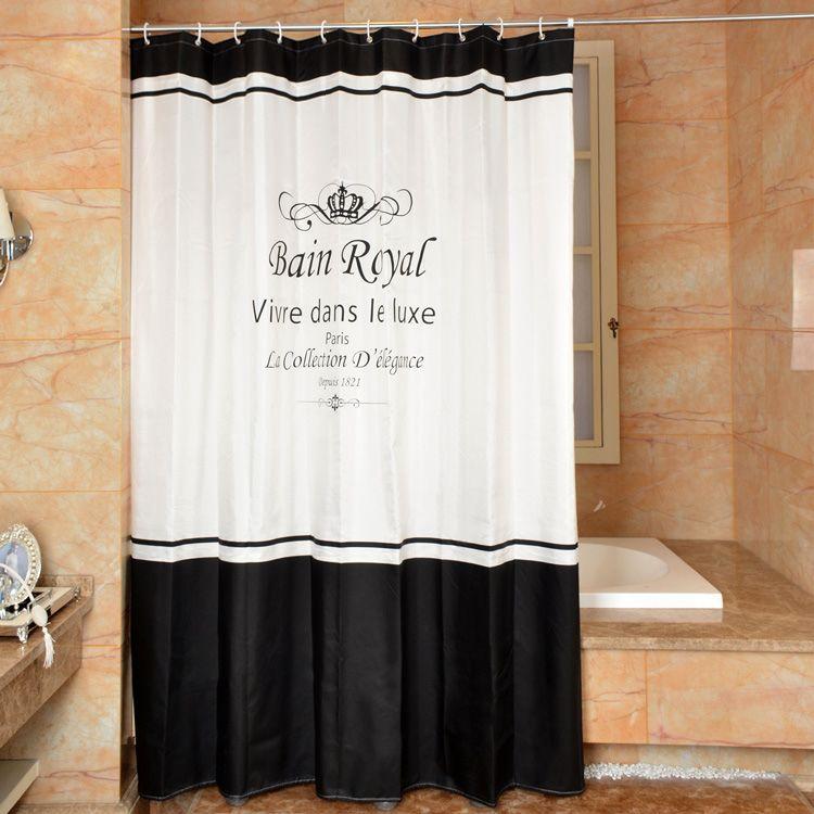 couronne rideau de douche pais tanche moldproof salle de bains rideau noir blanc polyester tissu rideaux de douche pour salle de bains - Rideau Salle De Bain Tissu