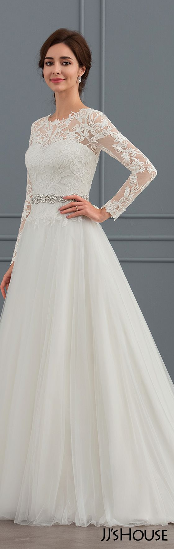Ball-Gown Scoop Neck Sweep Train Tulle Wedding Dress (002127265 ...