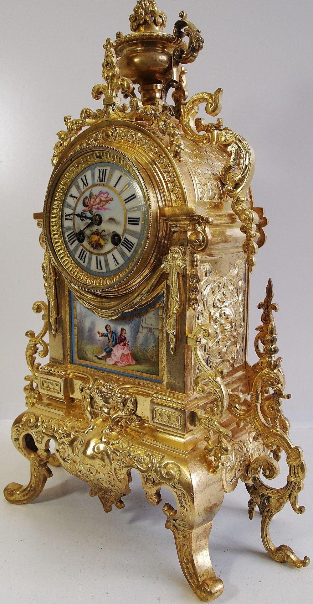 03a50d098cda Relojes antiguos 19o C francesa Admougin bronce y porcelana de Sèvres Manto  del reloj .