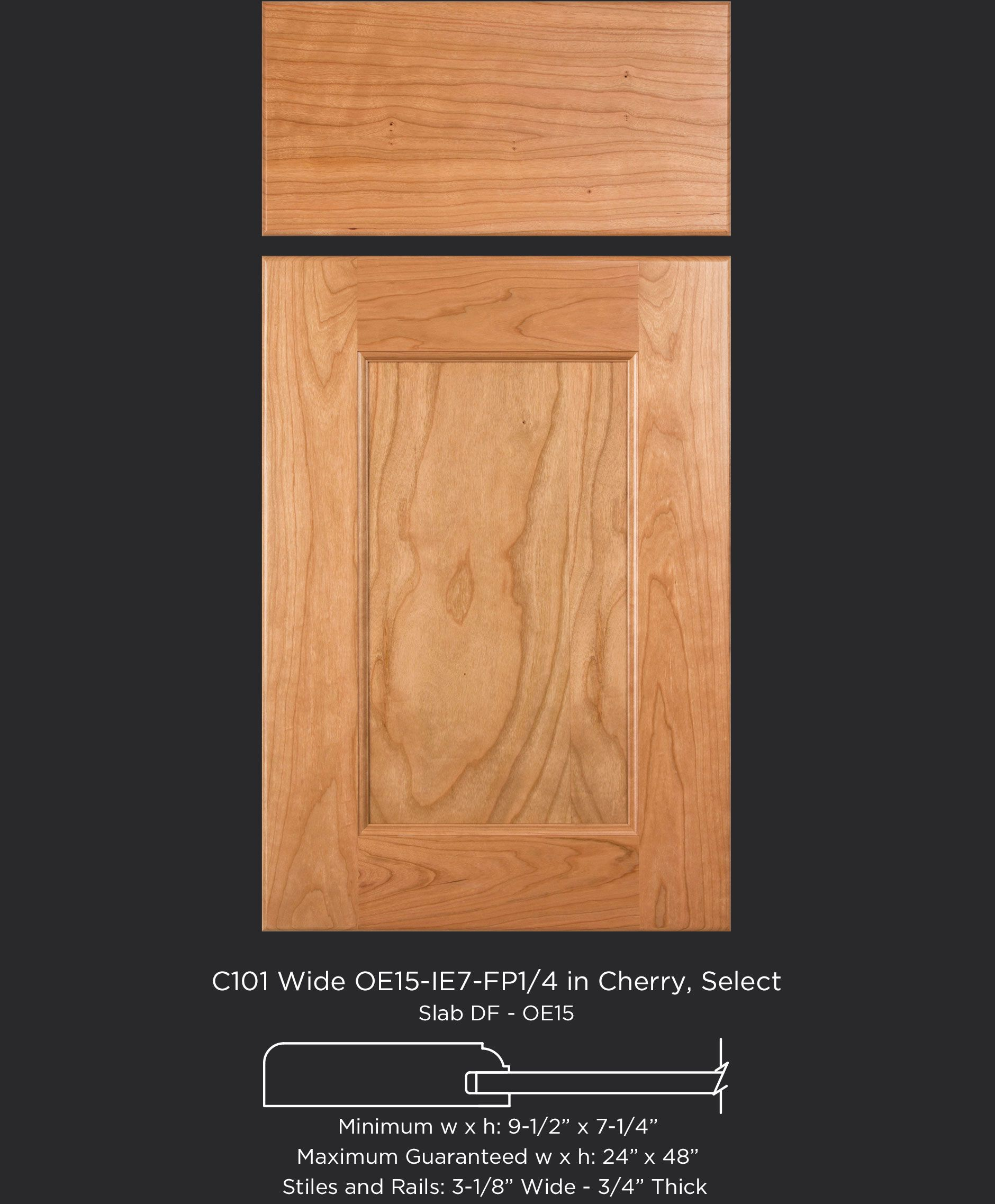 Cope and stick cabinet door with rounded outside edge and flat ...
