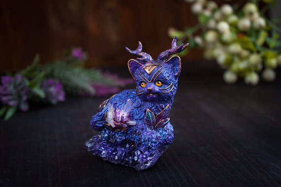 OOAK,Art sculpture of a cat, shaman cat, magic cat, cat deer
