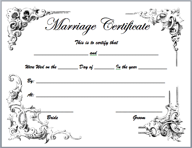 Image Result For Traditional Marriage Certificate Texas Printable
