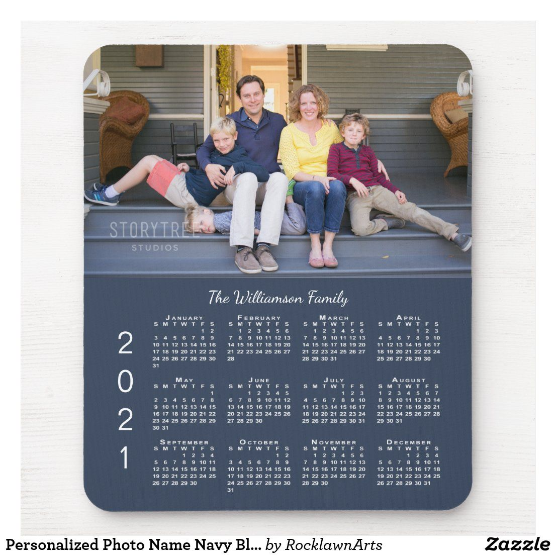 Personalized photo name navy blue 2021 calendar mouse pad