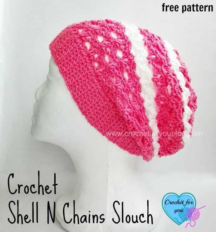 Free Crochet Shell N Chains Slouch Pattern | Mütze und Häkeln