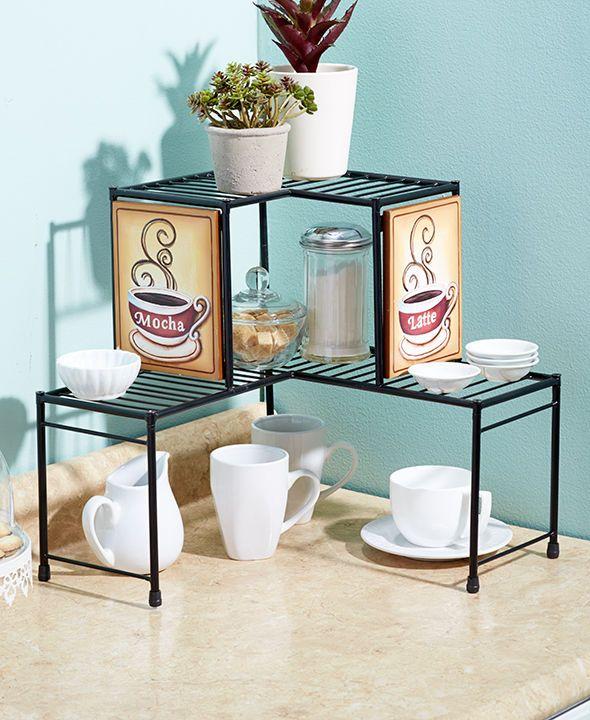 Corner Shelf Rack 2 Tier Coffee Kitchen Decor Shelf Space