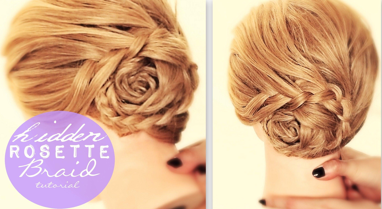 Hidden rosette braid tutorial cute bun hairstyles hair updos
