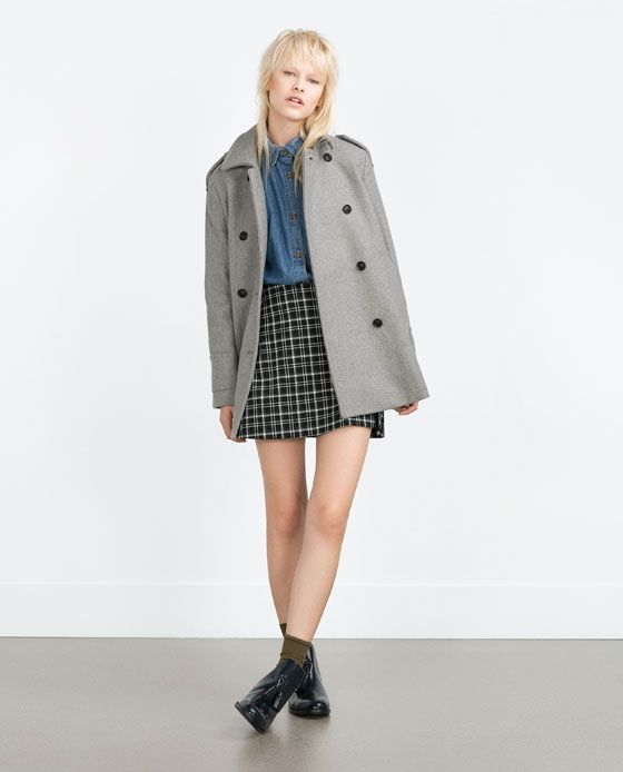Abrigo capa gris zara