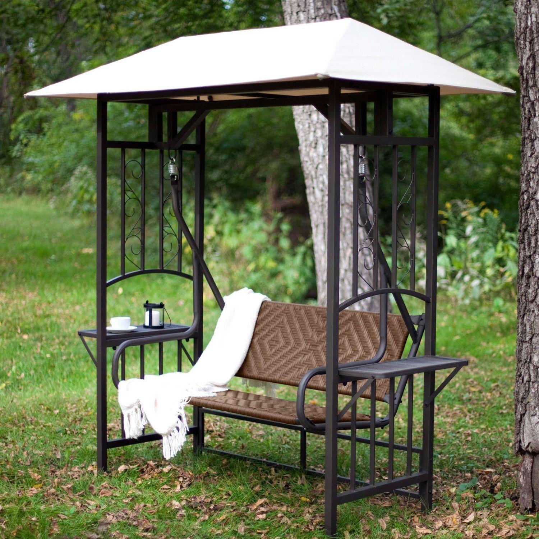 2 Person Natural Brown Resin Wicker Gazebo Canopy Porch Swing Glider