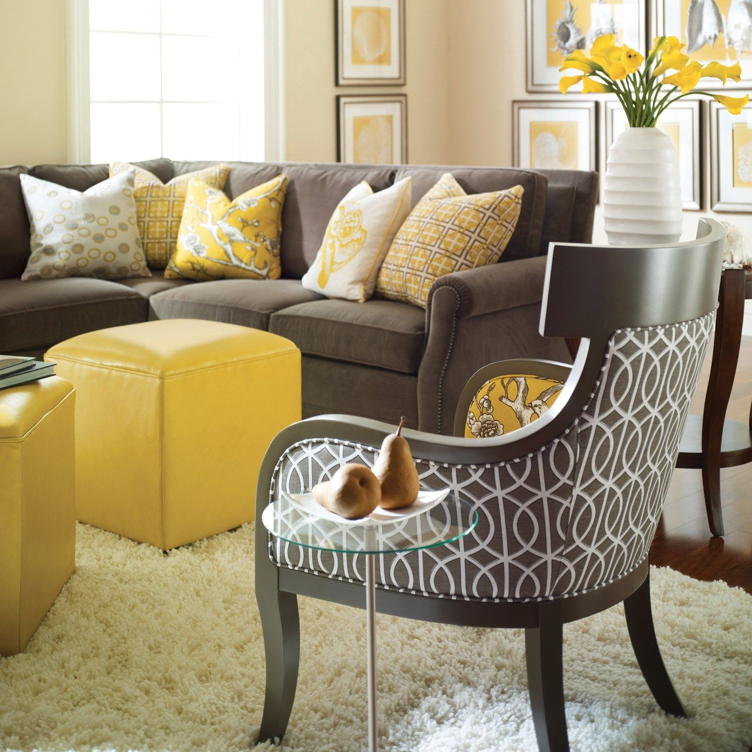 Gray sofa with yellow living room den layla grayce for Yellow brown living room ideas
