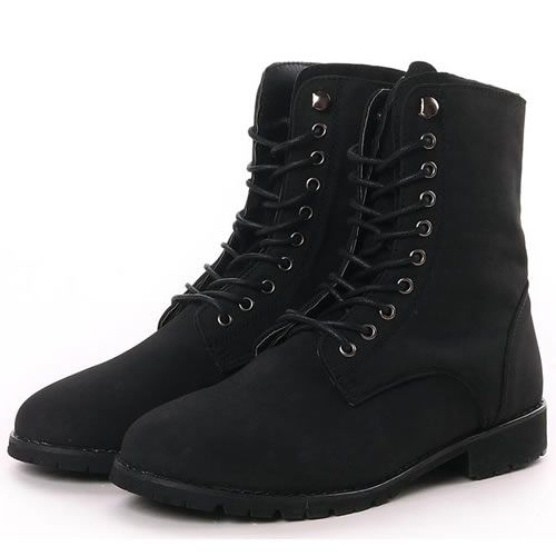 8ff477b03 Men Black Leather Lace Up Gothic Punk Military Combat Style Boots SKU -1280050
