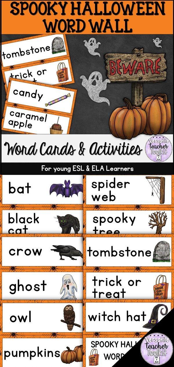 Spooky Halloween Word Wall and Word Work Activities (ESL
