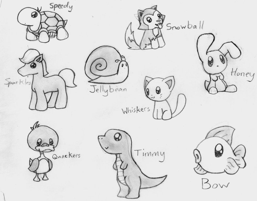 Cute Animals By Crimsonangelofshadow On Deviantart Easy Animal Drawings Cute Animal Drawings Animal Drawings