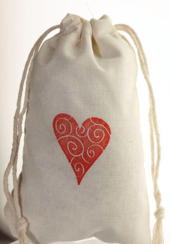 Valentines Day Favors 10 3 X 5 Muslin Bags Hand Stamped With Red Hearts Party Favor Wedding Gift Treat