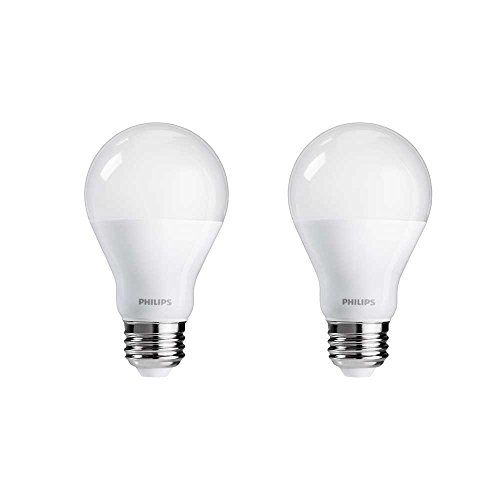 Philips 455931 60 Watt Equivalent A19 LED Light Bulb Dimmable Warm Glow  Frustration Free 2Pack