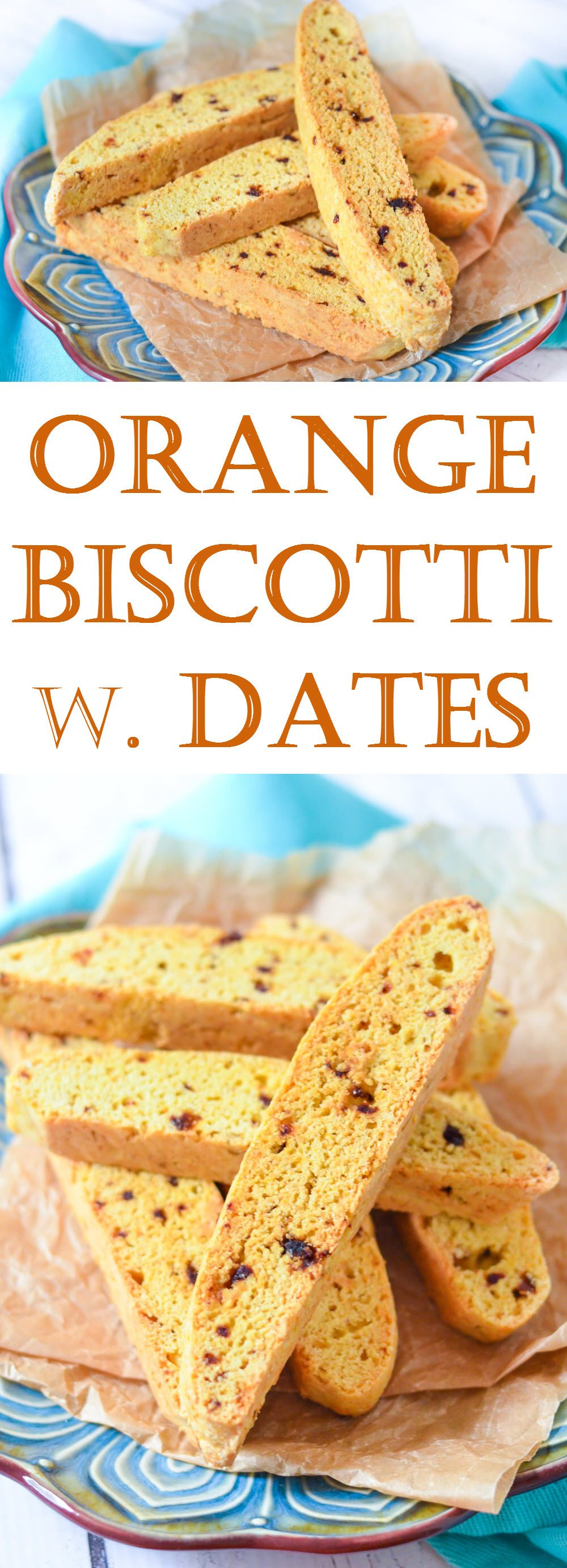 Delicious orange biscotti with chopped dates. A lower fat recipe for biscotti, you'll be addicted to this coffee or tea accompaniment in no time!