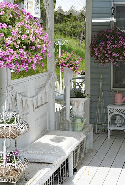 all white shabby chic terrace with lots of flowers   Patio ...