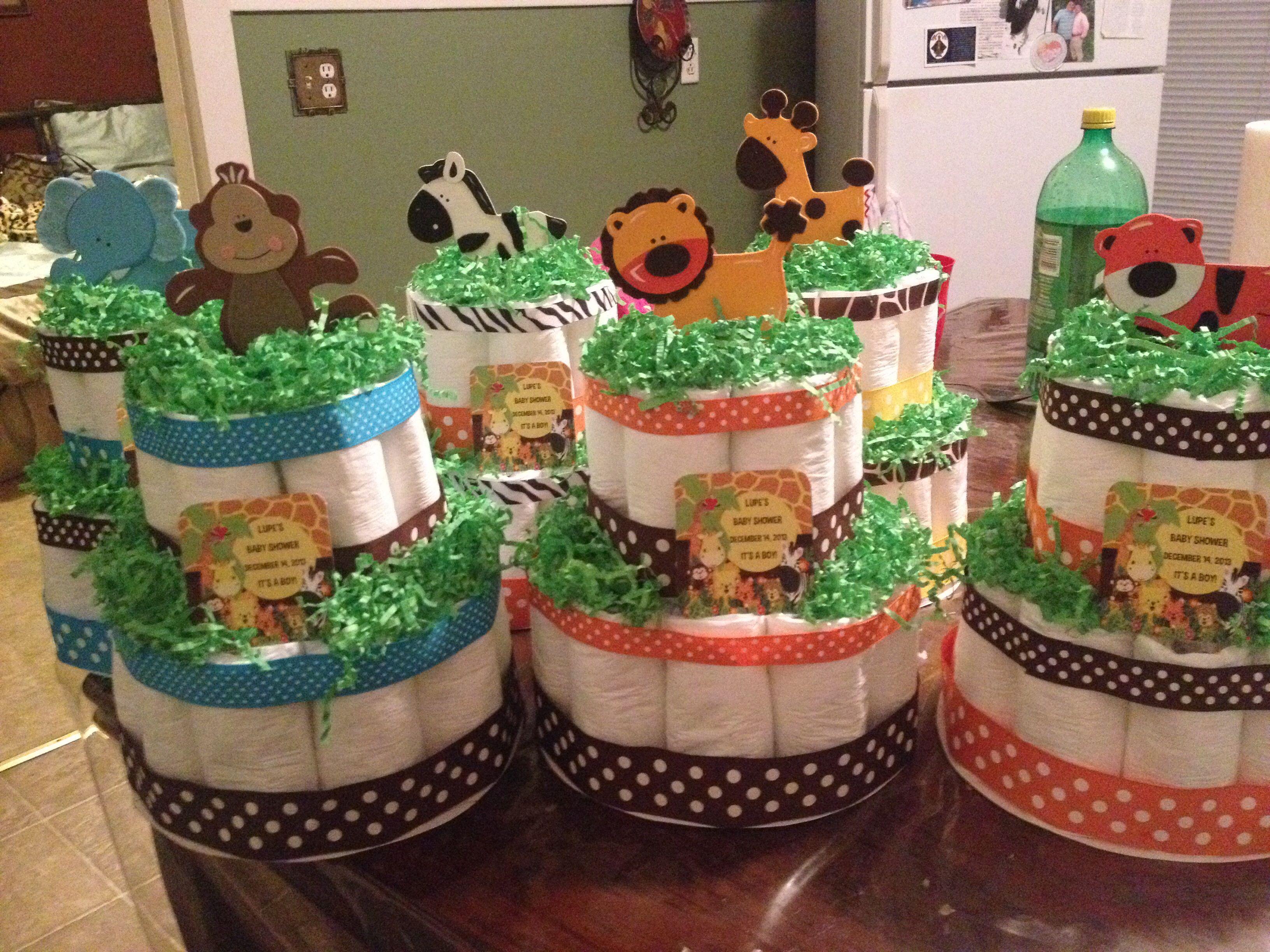 Jungle Baby Shower Diaper Cake Centerpieces