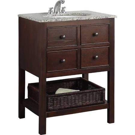 Simpli Home Burnaby 24 in. Vanity in Walnut Brown with Granite Vanity Top in Dappled Grey and Undermounted Oval Sink NL-HHV022-24-2A
