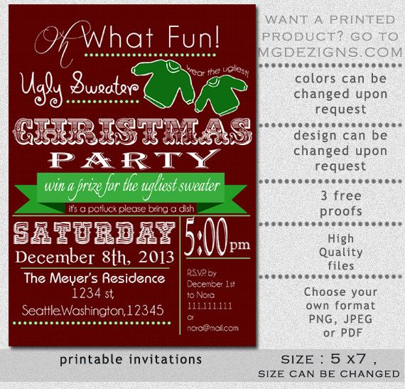 Printable Chalkboard Vintage Ugly Sweater Holiday Party Invitation - Ugly sweater christmas party invitations template