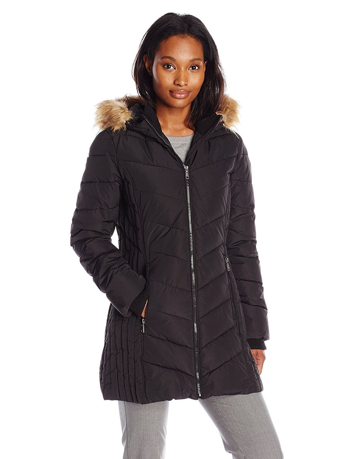Tommy Hilfiger Women's Classic Chevron Down Coat with Faux