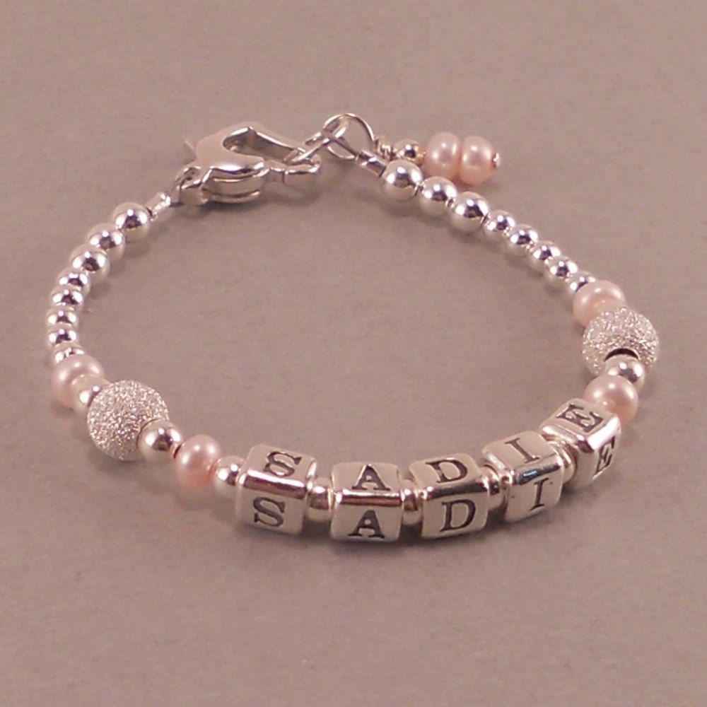 Baby girl gift baby name bracelet sterling silver first baby girl gift baby name bracelet sterling silver first birthday bracelet personalized negle Images