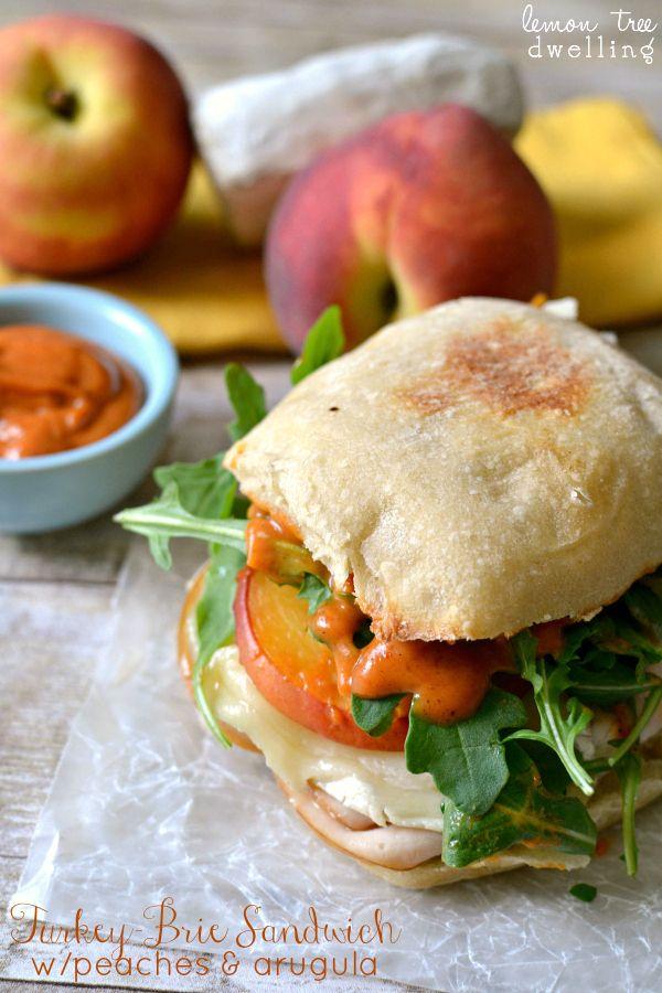 Turkey-Brie Sandwich w/Peaches & Arugula | Lemon Tree Dwelling