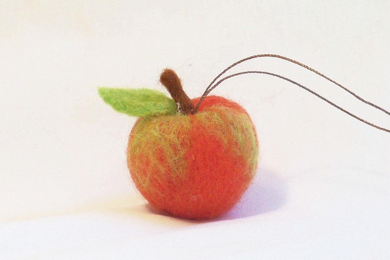 Miniature Fruit Ornament Green Apple Holiday Decoration Christmas Gift Christmas Ornament Felt Christmas Needle Felted