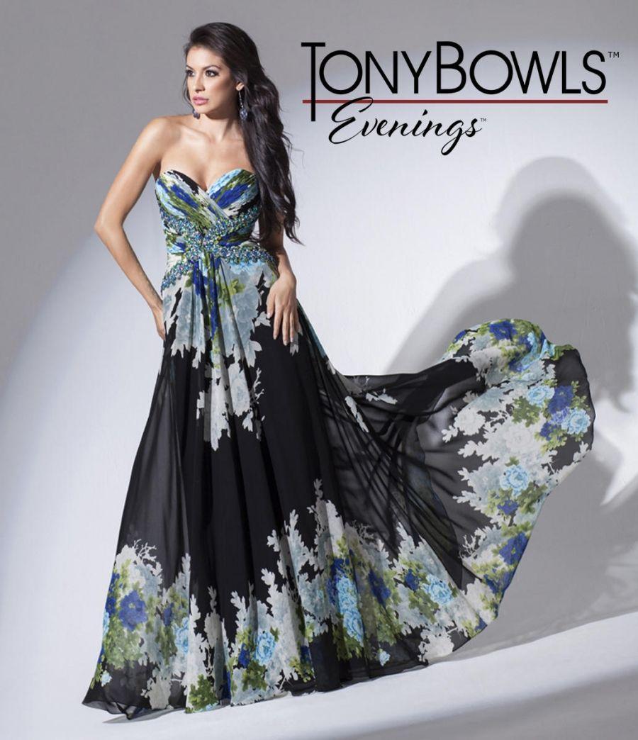 ff46a8a6f0f9 Tony Bowls Evenings TBE11548 Print Chiffon Dress in 2019   wedding ...