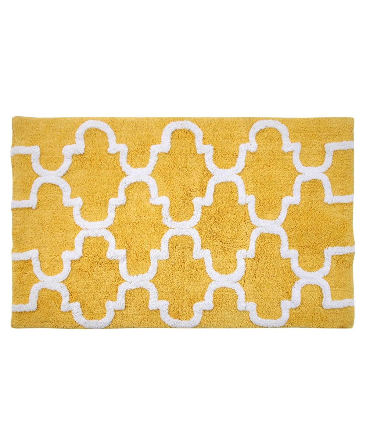 Saffron Fabs Geometric 50 X 30 Non Skid Cotton Bath Rug