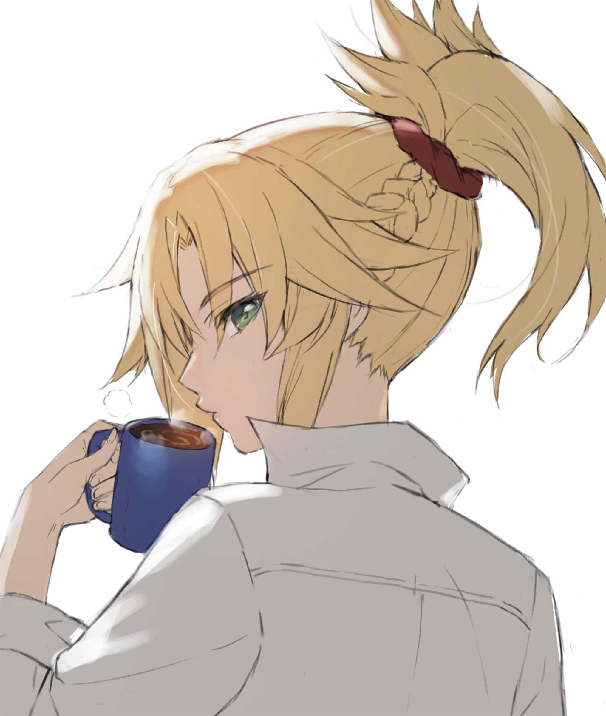 Mordred having her morning coffee saber fate anime