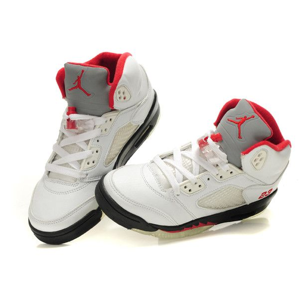 Women Air Jordan 5 White Black Fire Red 68  liked on Polyvore featuring