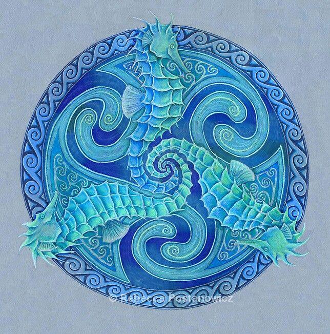 Celtic seahorses | Celtic mandala, Seahorse art, Celtic art