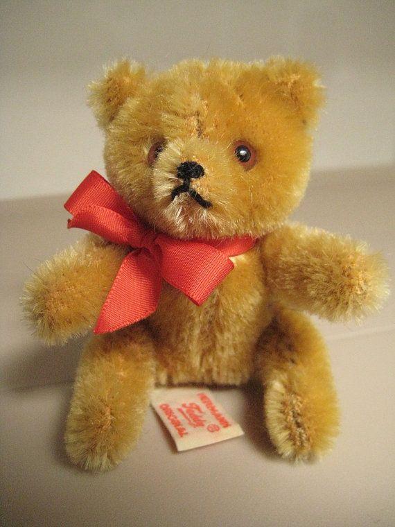 In my #ETSY Shop: #Hermann Vintage Mini #Teddy Bear - Born in the 1980s - Gold Mohair