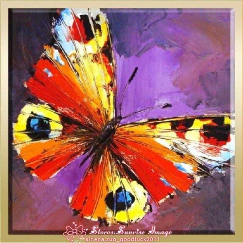 P1219 Hecho A Mano Abstracto Insectos Mariposas Pintura Al Óleo Arte ...
