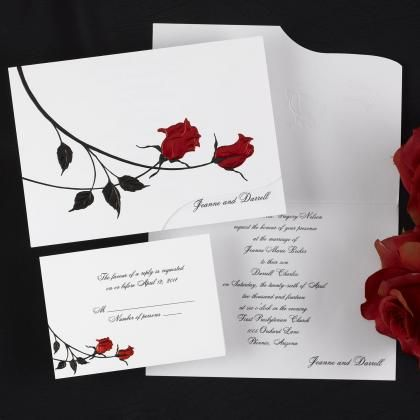 red roses wedding invitations - romantic wedding invitations, Wedding invitations
