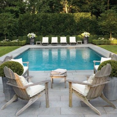 Photo of pool, well accessorized.