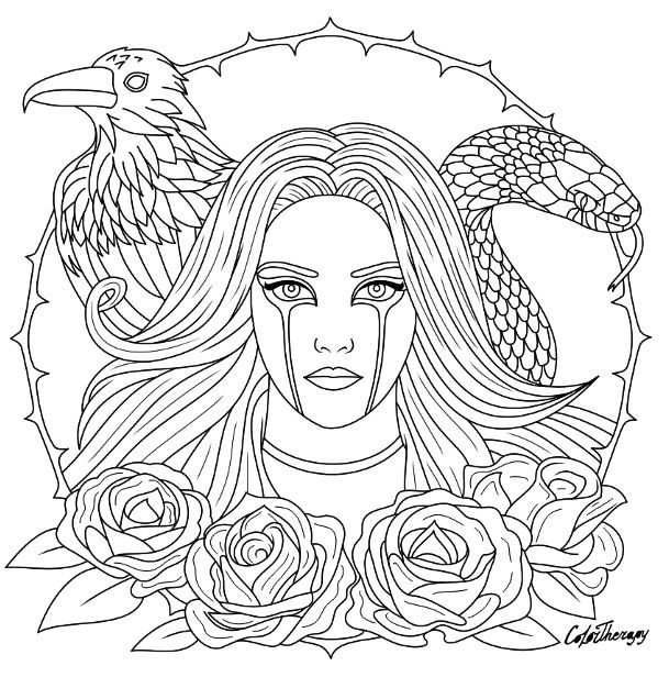 halloween therapy coloring pages   Halloween Gothic coloring page to color with Color Therapy ...