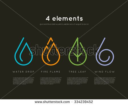 nature elements water fire earth air infographics elements on
