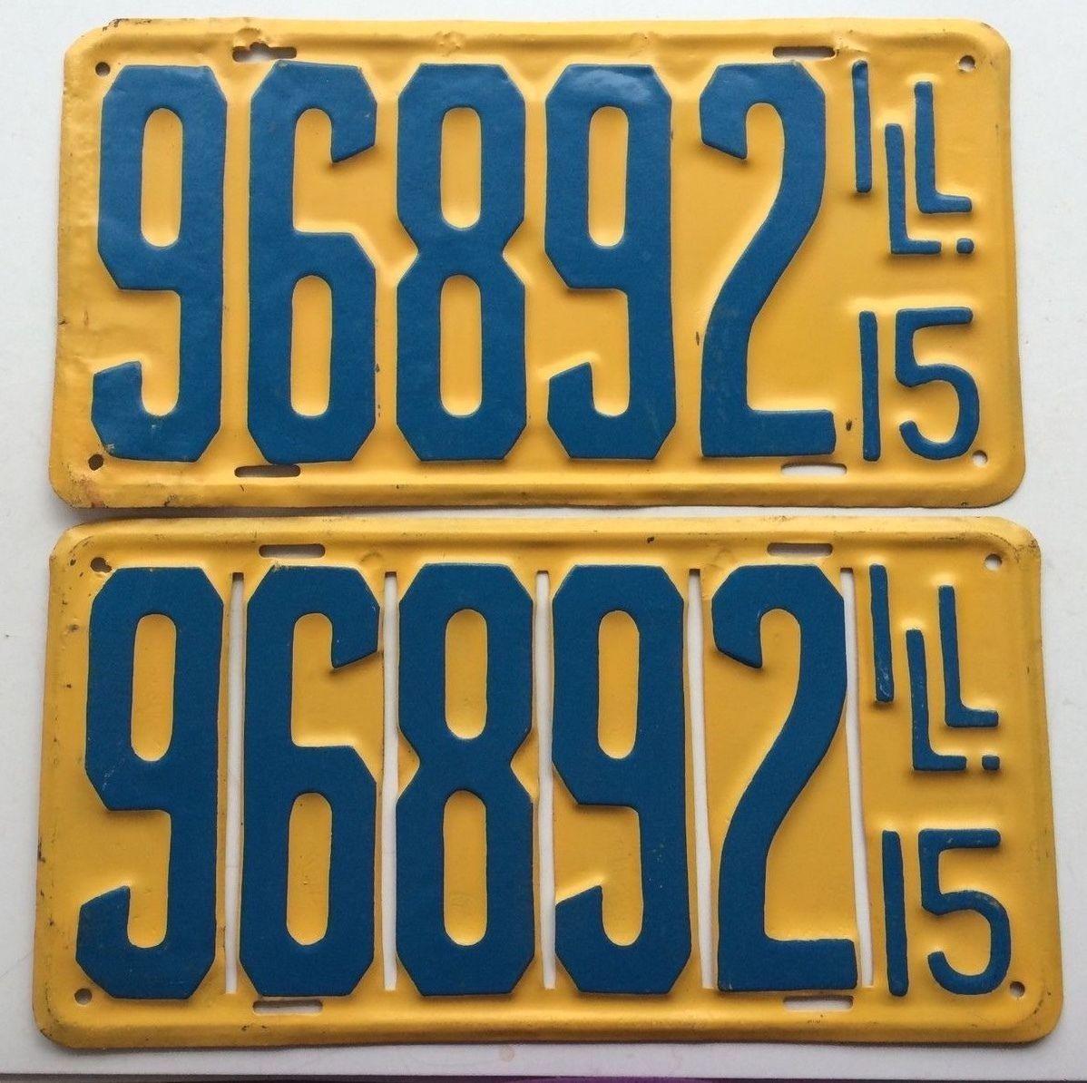 Illinois 1915 Pair Vintage License Plate Garage Repainted Old Car ...