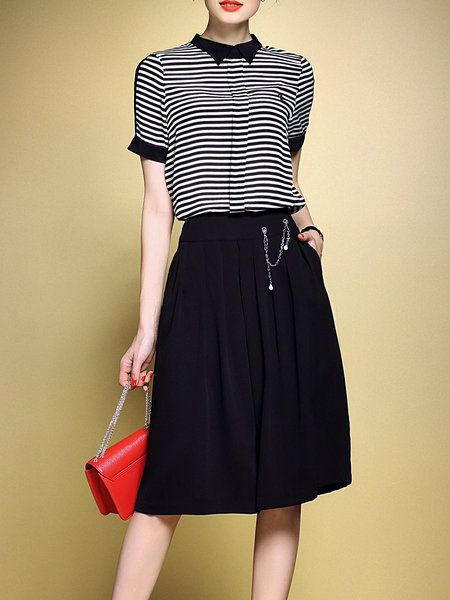Short Sleeve Pockets Work Two Piece Stripes Jumpsuit