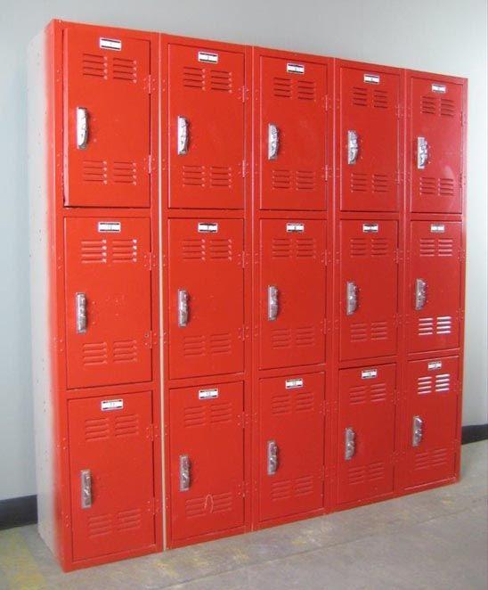 Red Metal 3 Tier Lockers Lockers For Sale Lockers Used Lockers
