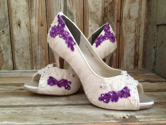 Superieur Colored Bridal Shoes Purple Ivory White All Lace Beaded Peep Toe Platform