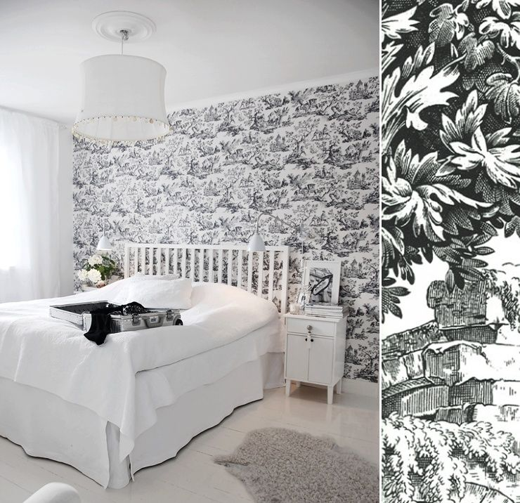 papier peint toile de jouy noir et blanc toile de jouy pinterest normandy and walls. Black Bedroom Furniture Sets. Home Design Ideas
