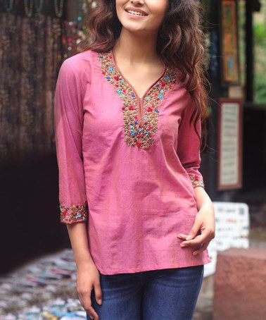 Look what I found on #zulily! Pink Embroidered V-Neck Top by NOVICA #zulilyfinds