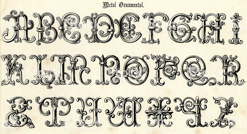 Vintage Engraving Of The Alphabet In A 17th Century Metal Ornamental Alphabet Buchstaben Typografie Alphabet Alphabet A